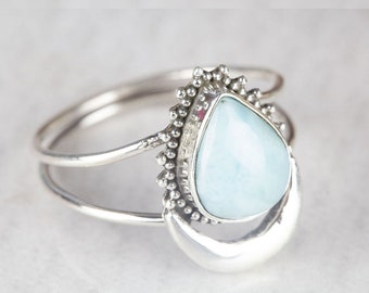 Natural Larimar Ring 925 Sterling Silver Ring For Women AAA+Top Quality Cabochon Baguette Gemstone,Dainty Vintage,Bridal,Anniversary Gift
