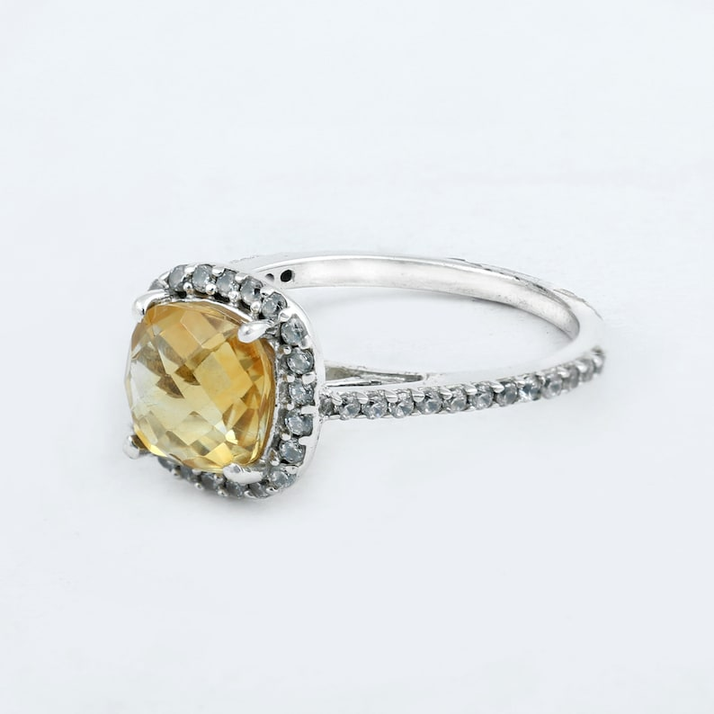 Citrine 925 Silver Round Cut Citrine Sterling Silver ~ Engagement ring ~  Gemstone ~  Promise ring ~ Anniversary ring