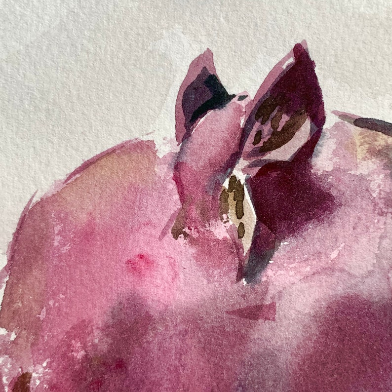 Pomegranate Painting Fruit Original Art Watercolor Small Painting 12 by 8 by Maavko