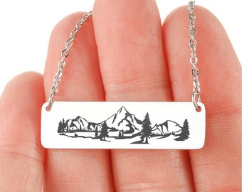 Wanderlust Necklace Mountain Jewelry The Mountains are Calling Jewelry Mountain Bar Necklace Wide Bar BFF Gift Outdoor Necklace