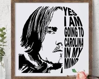 James Taylor   Carolina in my Mind   Vintage Music   Cricut SVG   Poster Printable   AI   SVG   Music svg   Music Lyrics