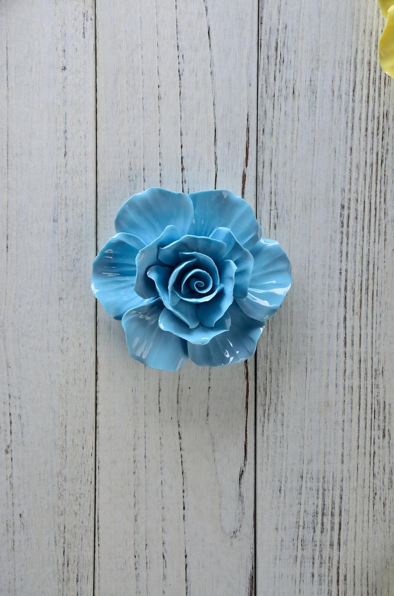 Organic Design Home Decor Ceramic Decor Blue textured rose,Handmade Wall Hanging Ceramic Flower Wall Tile Ceramic Sculpture Art