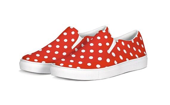 White Polka Dot Slip On Canvas Shoes | Etsy
