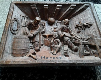Vintage French Carved Wooden Wall Plaque Folk Art 3D