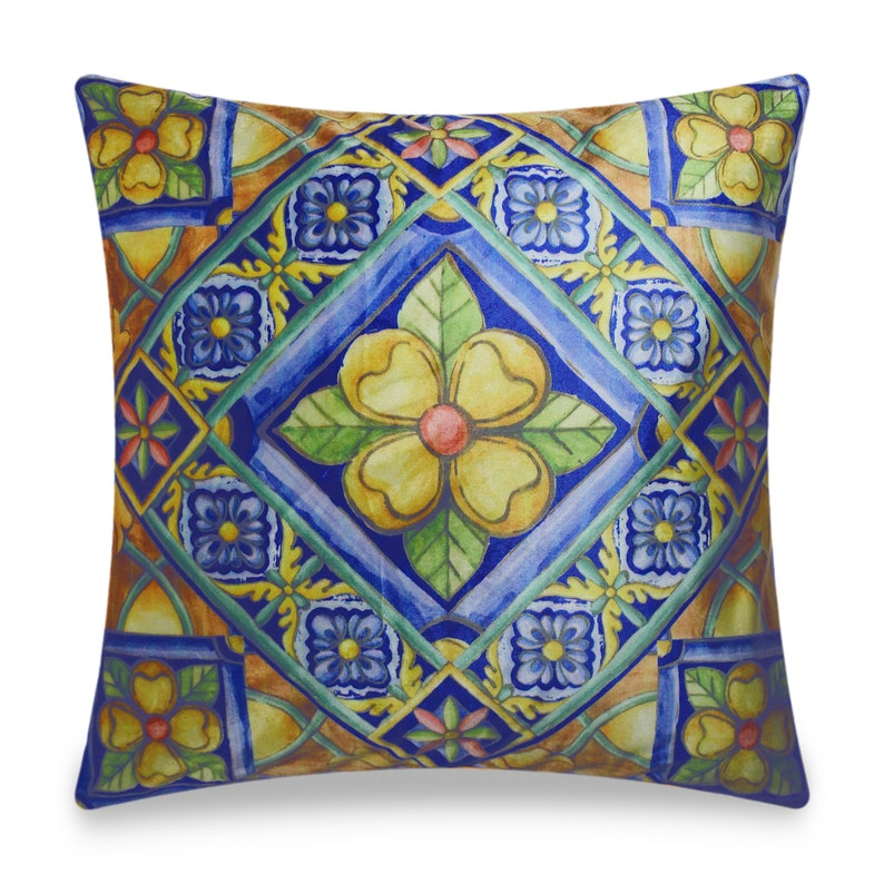 Cushion Cover Decorative Pillow Cover Digital Printing Velvet Throw Pillow Case for Sofa Chair Bedroom Living Room 18x18 In. Blue