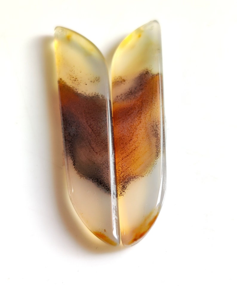 NATURAL MONTANA AGATE Gemstone 37Ct High Quality Montana Agate Cabochon Pair Set Perfect Earring Size Montana Agate Loose Gemstone 47x10x4MM
