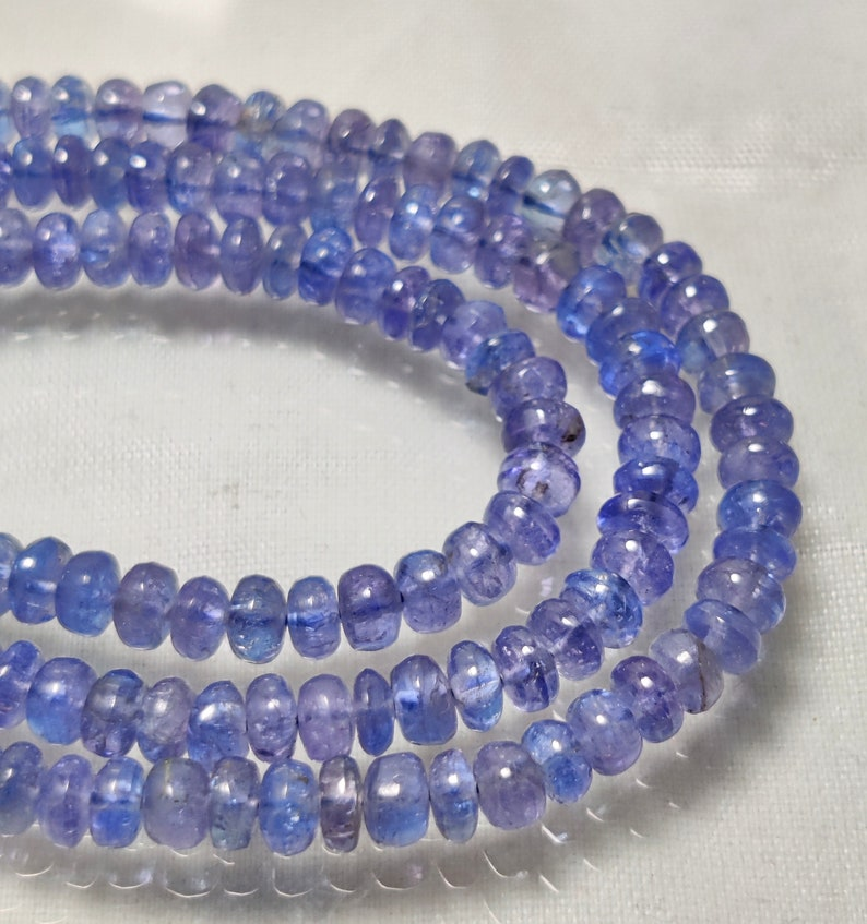 GOOD QUALITY TANZANITE Gemstone 95Ct Natural Blue Tanzanite Beaded Necklace 18Inches Length Cabochon Beads Necklace Tanzanite Jewelry4x34x3