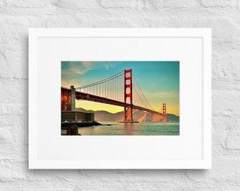 Framed Print of the Golden Gate Bridge, San Francisco, California, Wall Decor Art, Matte Paper Poster With Mat Surround
