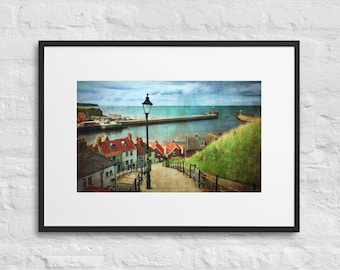 Framed Print of Whitby Harbour from the 199 Steps, Yorkshire Coast, Wall Decor Art, Matte Paper, Poster With Mat Surround