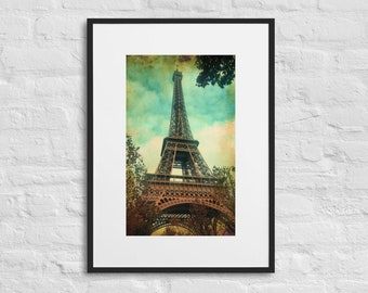 Framed Print of a Vintage Eiffel Tower, Wall Art Decor, Matte Poster With Mat Surround