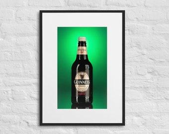Framed Print of Bottle of Guinness, Famous Irish Stout, Wall Decor Art, Matte Paper Framed Poster With Mat Surround
