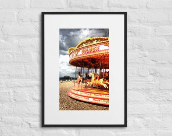 Framed Print of the Carousel on Brighton Beach, Wall Art Decor, Matte Paper Poster With Mat Surround