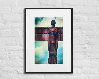 Framed Print of the Angel of the North, Wall Art Decor, Matte Paper Poster With Mat Surround