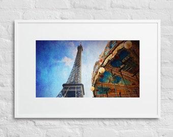Framed Print of Eiffel Tower, Paris, France, Wall Art Decor, Matte Paper Poster With Mat Surround