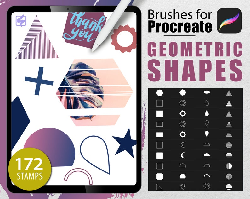 172 Procreate Brushes Geometric Gradients and Shapes Tattoo image 0