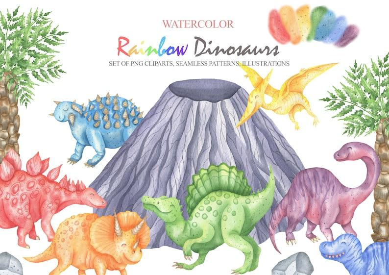 Scrapbooking Animals For Children Clip Art Digital Paper PNG 17 Baby Shower T Rex Nursery Art Desing Watercolor Dinosaur Clipart