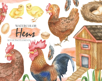 Watercolor Hens And Chickens Clipart, Farm Animals Clipart, Rooster, Hen, Eggs, Coop, Chicks, Nest, Animals For Kids PNG 20
