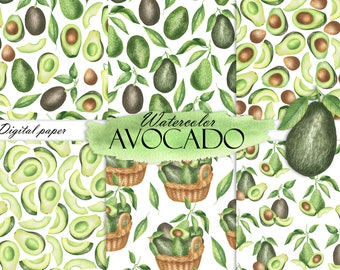 Watercolor Avocado Digital Paper, Avocado Seamless Pattern, Summer Digital Paper, Avocado Print Scrapbook JPG 18