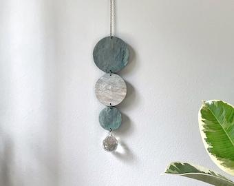 Suncatcher #2 / Blue Green Apatite / Polymer Clay Wall Hanging / Rainbow Maker / Sun Catcher
