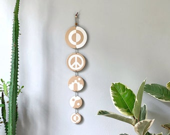 Duality Series / Fawn & Ivory / Polymer Clay Wall Hanging / Yin Yang / Neutral / Wall Totem / Eclectic Modern