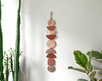 Terracotta Marble #1 / Wall Hanging / Polymer Clay / Modern Bohemian Wall Decor / Wall Totem / Eclectic Modern