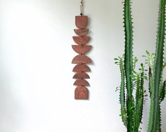 Rust Marble Wall Hanging / Polymer Clay / Modern Bohemian Wall Decor / Wall Totem / Eclectic Modern