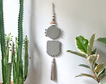 Organic Coils Wall Hanging #4 / faded olive / polymer clay wall hanging / silk tassel / eclectic modern / bohemian / marbled clay / boho