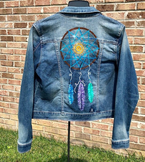 Hand painted jacket Jacket with painting Jacket with art work Denim jean jacket JACKET with art Wearable art Portrait by photo Picture photo