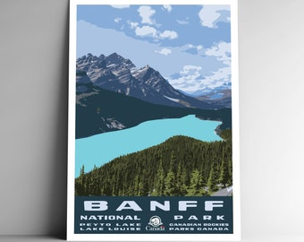 """1930s /""""Lovely Lake Louise/"""" Canadian Rockies Vintage Style Travel Poster 24x36"""