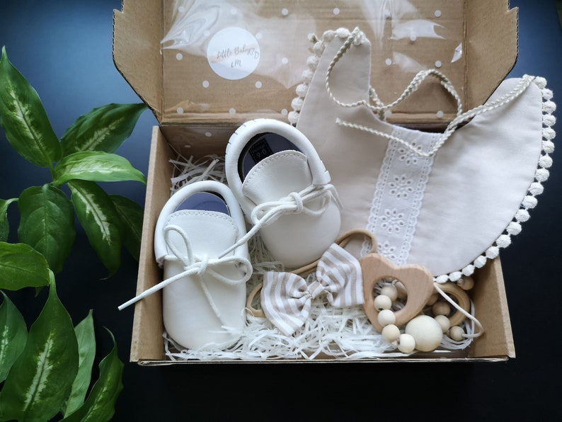 New baby white and beige unique set for baby shower first image 0