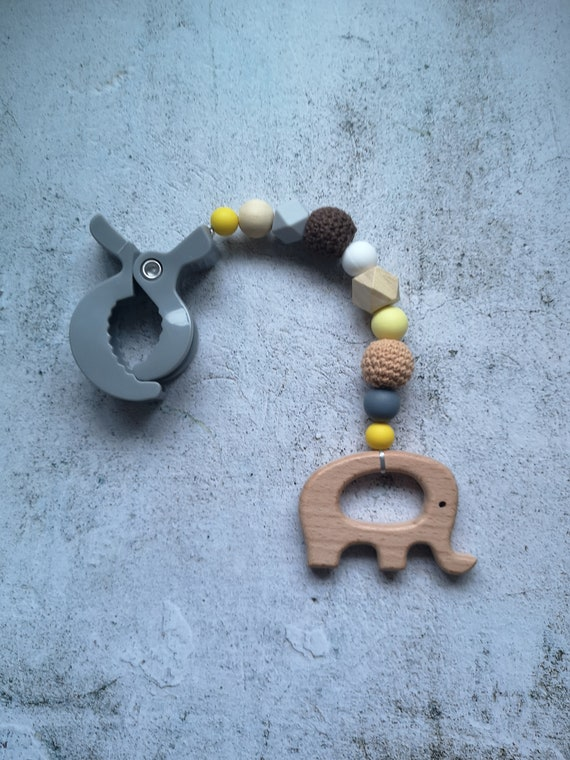 Baby Play Gym Toys Storller Accessories Silicone Teething Beads Wooden Ring LH