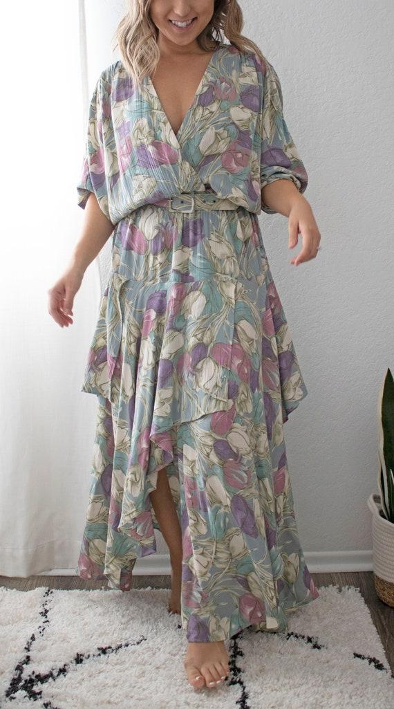 The Tulla Dress | Vintage Tulip Print Dress W/ Be… - image 1