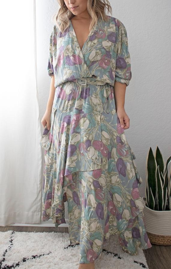 The Tulla Dress | Vintage Tulip Print Dress W/ Be… - image 2