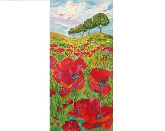 Red Poppies Chevron Photo Art Home Wall Decor 11 x 14 Mat Poppy Flowers Picture