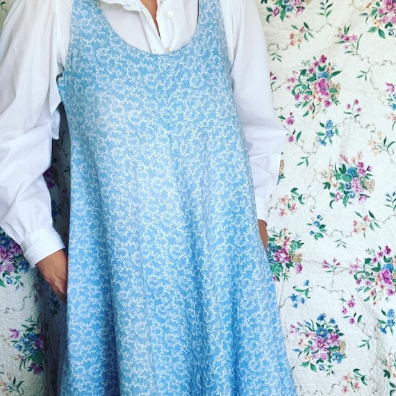 Cutest vintage 1970s Laura Ashley light blue pina… - image 2