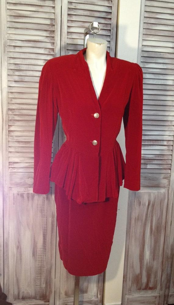 Wine red velvet suit