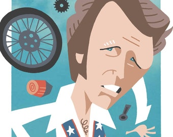 Evel Knievel Caricature Print by Ashley Holt