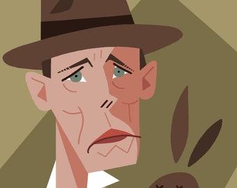 Joseph Beuys Caricature Print