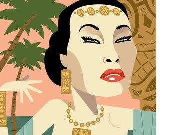 Yma Sumac Caricature Print by Ashley Holt