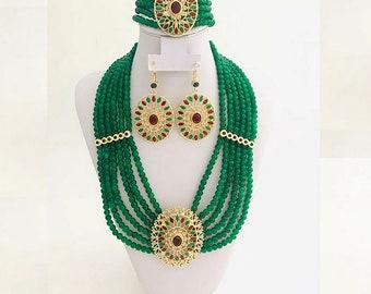 Hand beaded Moroccan Algerian Turkish Green Dark Red wedding Set,Necklace, pendant earrings and bracelet, Dubai Jewelry set, African Jewelry