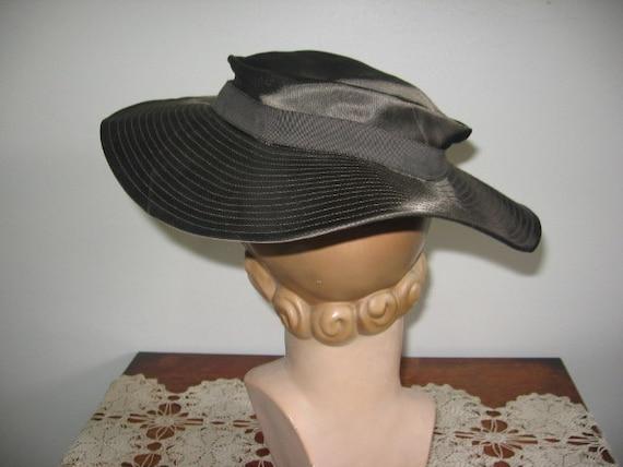 1930's Hat / Tilt / Wide-brimmed / Chocolate Taup… - image 4