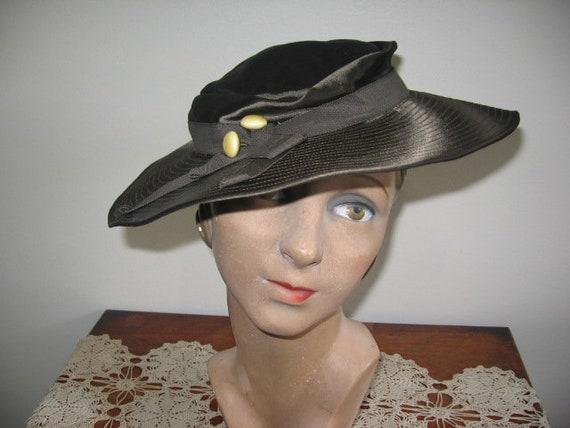 1930's Hat / Tilt / Wide-brimmed / Chocolate Taup… - image 3