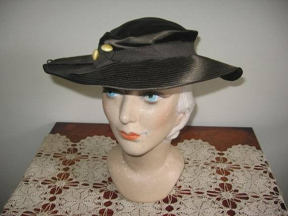 1930's Hat / Tilt / Wide-brimmed / Chocolate Taup… - image 2