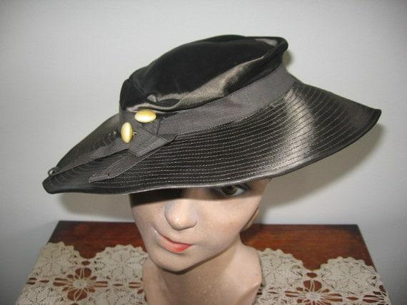 1930's Hat / Tilt / Wide-brimmed / Chocolate Taup… - image 6