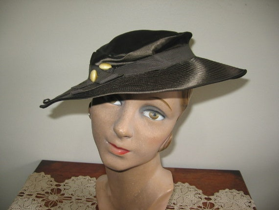 1930's Hat / Tilt / Wide-brimmed / Chocolate Taup… - image 7
