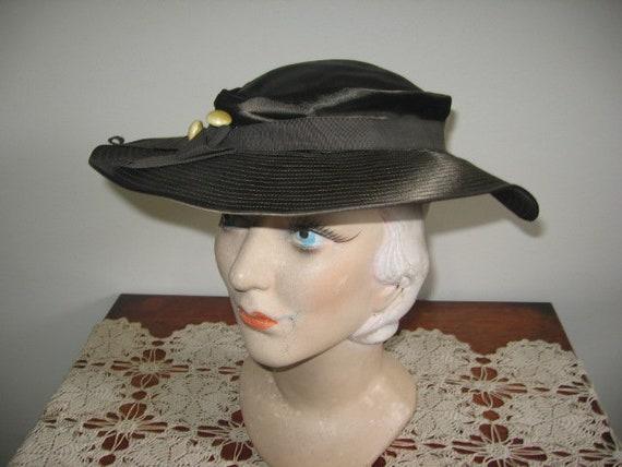 1930's Hat / Tilt / Wide-brimmed / Chocolate Taup… - image 9