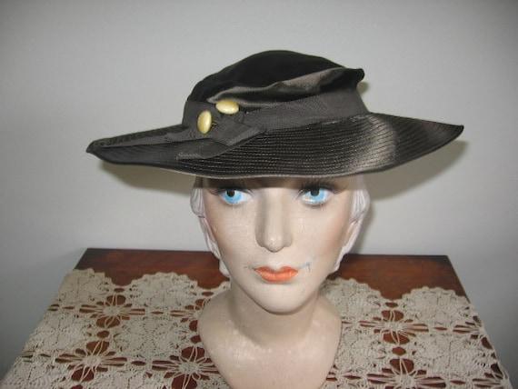 1930's Hat / Tilt / Wide-brimmed / Chocolate Taup… - image 8