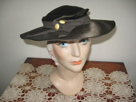 1930's Hat / Tilt / Wide-brimmed / Chocolate Taup… - image 1