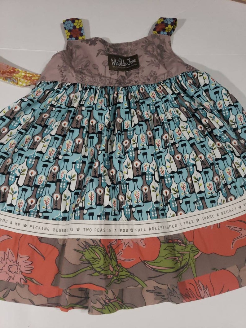 inchismxbin Condition is Pre-owned in good condition Matilda Jane Apple Percy Apron Knot Dress Girls Size 2 Fall Removable