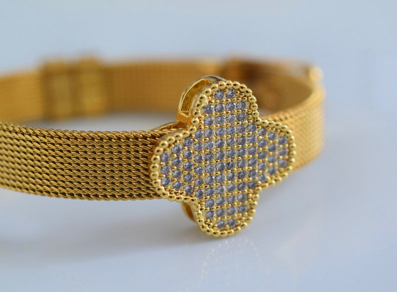 Gold Plated Diamond Inspired Clover Belt Style Bracelet Has Optional Matching Necklace And Earrings